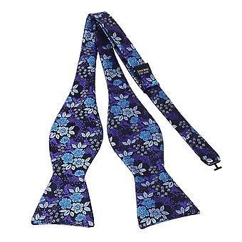 Purple blue & silver floral bow tie & pocket square set