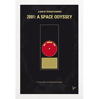 JUNIQE Print - 2001 - A Space Odyssey - Films Poster in Geel & Rood