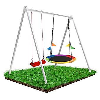 Swing Rahmenset Inkl. 2 Schaukeln – 260 x 195 x 230 cm – Weißer Stahl