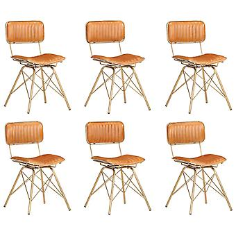 vidaXL Dining Chairs 6 pcs. Brass and Brown Genuine Goat Leather