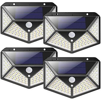4pcs Solar Light With Motion Sensor And 270 Four-sided Lighting