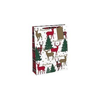 SISTA FÅ - Liten Papperspresentpåse - Julstag - 16x13x5