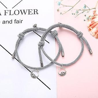 2pcs Sterling Sølv Magnetisk Lås Couple Attraction Rope Kreative smykker (Grå)
