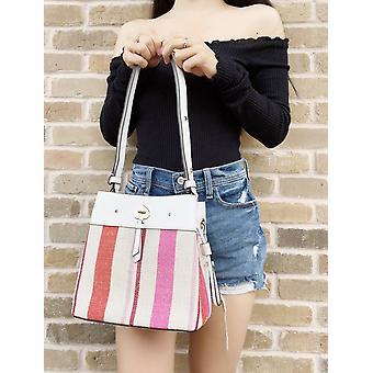 كيت سبيد شريط appliqué حقيبة دلو صغير الكتف حمل كروسبودي متعددة الألوان