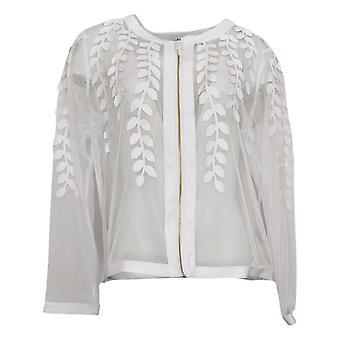 Colleen Lopez Dames Faux Leather Leaf En Mesh Jacket White 739847