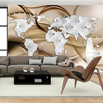 Papel de parede Globo - Mapa Mundial - Branco & Diamantes