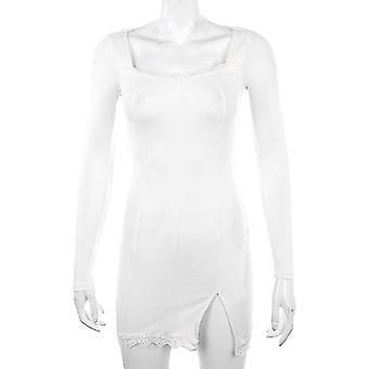 Podzim-jaro Ženy Sexy krajka Patchwork dlouhý rukáv split šaty