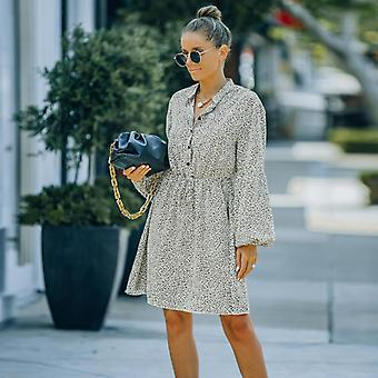 Women's Autumn And Winter New Style European And American Ins Style Fashion V-neck High-waist Lace-up Floral Chiffon Dress (m Size)