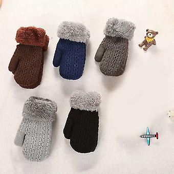 5pcs Baby Strickhandschuhe Winter Fäustlinge Magie Verdicktes warmes FleeceFutter Flauschiger Gürtel Anti-verlorenes Seil Weihnachtsgeschenk für Jungen und Mädchen