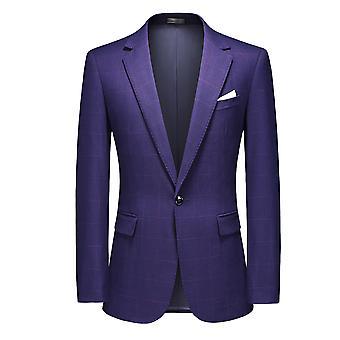 Mile Men Casual Blazer 1 Button Suit Jacket Slim Fit Plaid Suits Blazer Tweed Check Suit Tuxedo