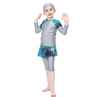 בנות איסלאמי בגדי ים מוסלמים בגדי ים צנועים חוף בגדים ערבי חאג'יב שרוול ארוך מידי מכנסיים פרחוני הדפס מוסלמי סטים מוסלמים 2019