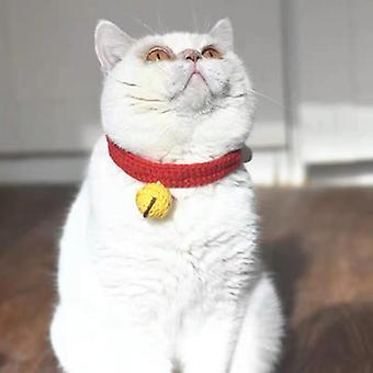 Cat Collar Mute Bell reglabil, țesute manual Pet Guler (roșu)