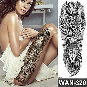 Sexy Faux Tatouage Pour Femme Imperméable Tatouages Temporaires Grande Jambe Cuisse Corps Tatouage Autocollants Pivoine Lotus Fleurs Poisson Dragon