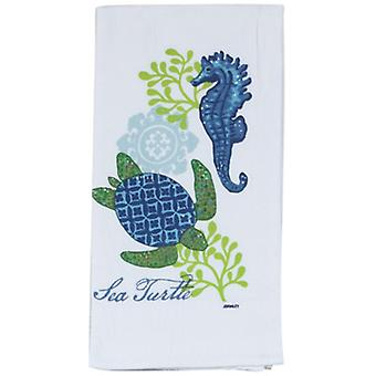 Coastal Blue and Green Sea Turtle Flour Sack Kay Dee Kitchen Towel