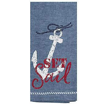 Set Sail Anchor Nautical Blue Red and White Kitchen Dish Tea Towel