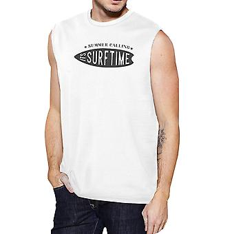 Été l'appel c' est Surf Time Mens blanc Muscle graphique Tank Top