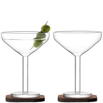 LSA International City Bar Cocktail Glasses On Walnut Coasters - Set Of 2