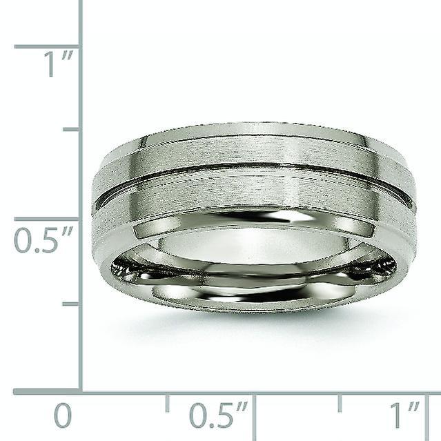 Bridal Titanium Ridged Edge 8mm Polished Band