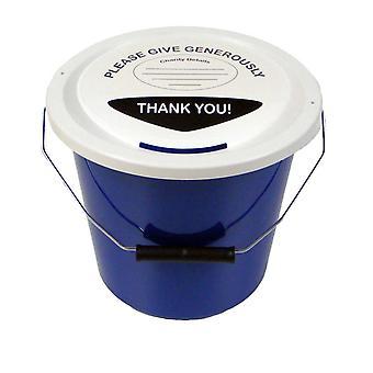 3 liefdadigheid geld collectie emmers 5 liter - blauw