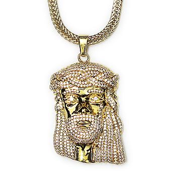 18k Gold Plated CZ XL Jesus Pendant 2 inches