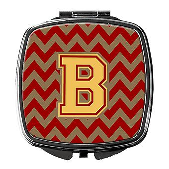 Letter B Chevron Garnet and Gold  Compact Mirror