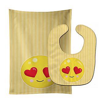 Каролинских сокровища BB8732STBU Lovey лицо ребенок нагрудник & Берп Ткань