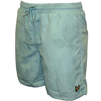 Lyle & Scott Fern Print zwemmen Shorts, poeder blauw