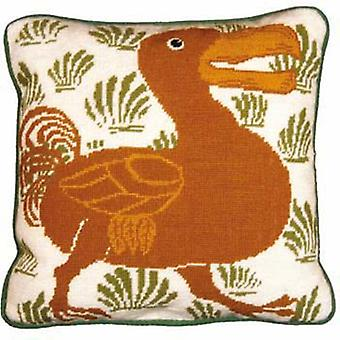 Cream and Green Dodo Needlepoint Kit