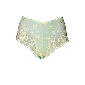 Camille Lemon Floral Leaf Embroidered Lime Green Mesh Boxer Shorts