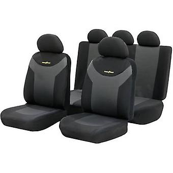 Goodyear 75529 housses 9 pièces Polyester Anthracite, Black Back seat, siège du conducteur, siège passager