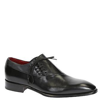 Chaussures lacets moderne pour homme en cuir noir