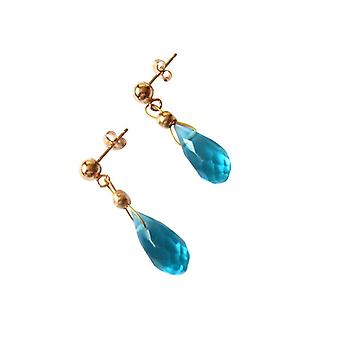 Gemshine - Women -Earrings - Gold plated - Aquamarine Quartz - Drop - Blue