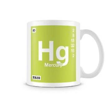 Vetenskaplig tryckt mugg med elementet Symbol 080 Hg - kvicksilver