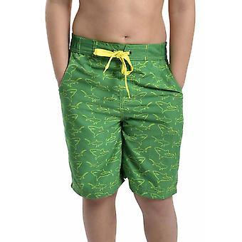 Boys Tom Franks Shark Print Summer Beach Swim Pool Shorts With Mesh Liner