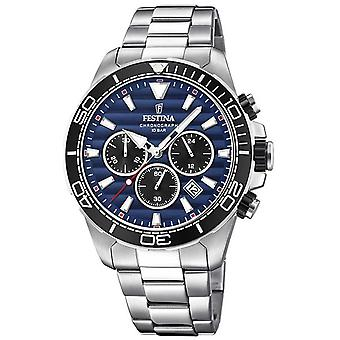 Festina Mens Stainless Steel Chronograph donker blauwe wijzerplaat F20361/3 Watch