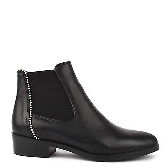 Kanna Nola Black Leather Ankle Boots