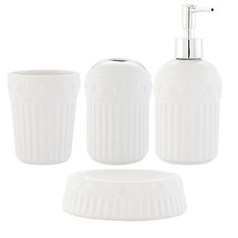 Clayre & EEF 4er set salle de bain en céramique savon distributeur coupe brosse à dents tasse