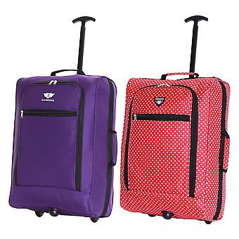 Slimbridge Montecorto Set van 2 cabine Bagage tassen, (Set van paarse en rode puntjes)