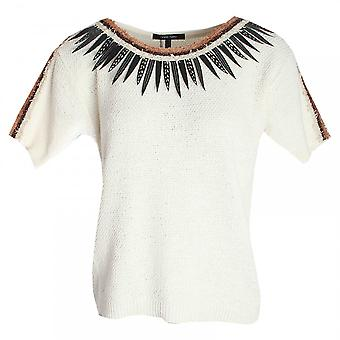 Marie Mero Short Sleeve Feather Detail Knitted Top