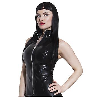 Honour Women's Top in Latex Rubber Black Sleeveless High Collars