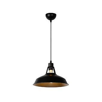 Industrial Brassy-Bis lucide rond luminaire suspendu noir métal