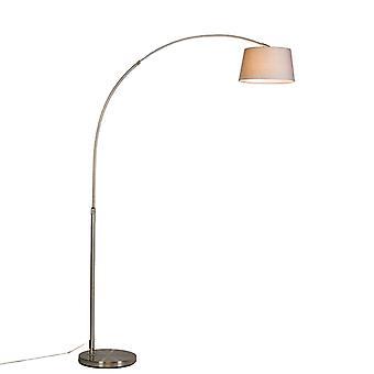 QAZQA Moderne Lichtbogenlampe Stahl mit grauem Stoffschirm - Arc Basic