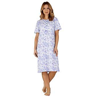 Slenderella ND3102 kvinnors bomull Jersey natt klänning Loungewear nattlinne