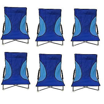 6 Blue Nalu Folding Low Seat Beach Chair Camping Chairs