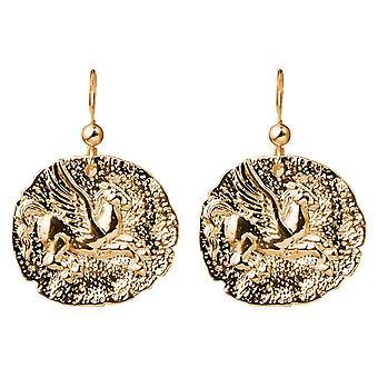 Gemshine Ohrringe Münzen Ohrhänger Pegasus Pferd 925 Silber, vergoldet oder rose