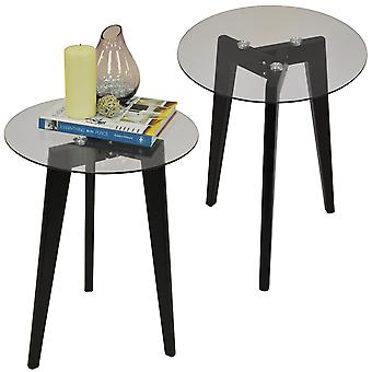 Luna - Doppelpack - Retro-stabiles Holz Stativbein und Runde Glas Ende / Beistelltisch - schwarz / klar