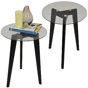 Pata de trípode de madera maciza Retro Luna - Pack de dos - ronda final de cristal y laterales mesa - negro / transparente