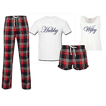 Hubby Wifey Wedding Couples Matching Pyjama Tartan Set