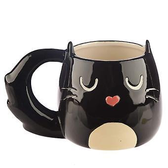 غريندستور القطط الجميلة الأسود القط على شكل القدح