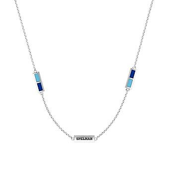 Spelman College Sterling Silver Engraved Triple Station Necklace In Sky Blue & Blue